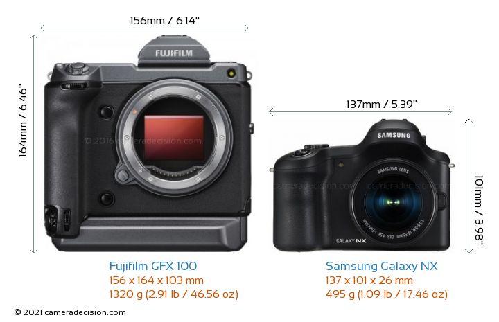 Fujifilm GFX 100 vs Samsung Galaxy NX Camera Size Comparison - Front View