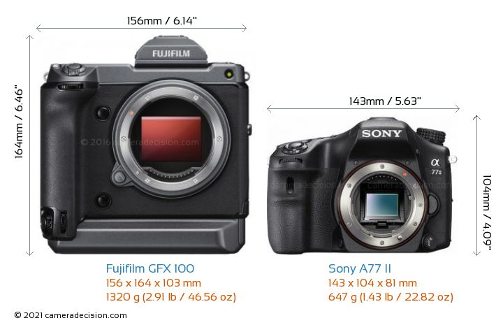 Fujifilm GFX 100 vs Sony A77 II Camera Size Comparison - Front View