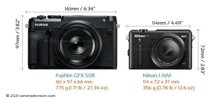 Fujifilm GFX 50R vs Nikon 1 AW1 Camera Size Comparison - Front View