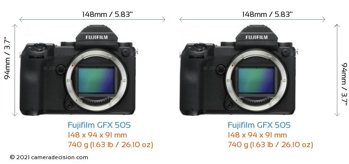 Fujifilm GFX 50S vs Fujifilm GFX 50S Camera Size Comparison - Front View