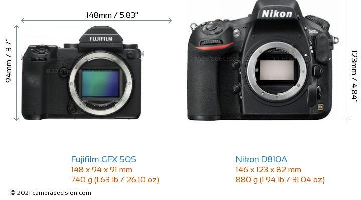 Fujifilm GFX 50S vs Nikon D810A Camera Size Comparison - Front View