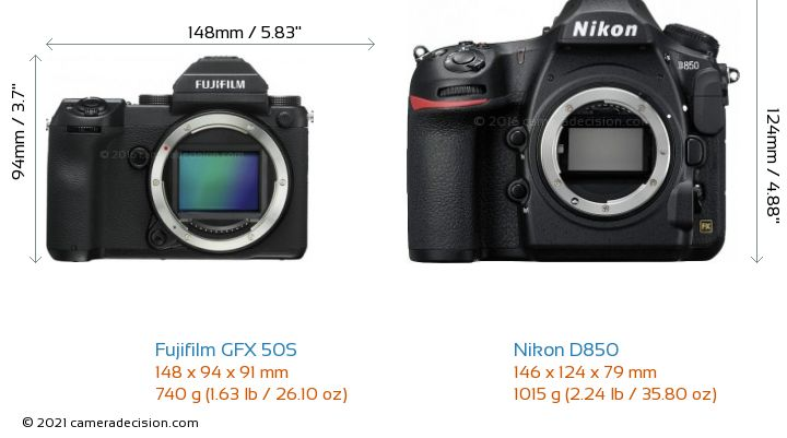 Fujifilm GFX 50S vs Nikon D850 Camera Size Comparison - Front View
