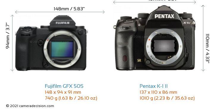 Fujifilm GFX 50S vs Pentax K-1 II Camera Size Comparison - Front View