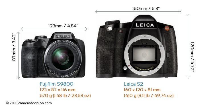 Fujifilm S9800 Vs Leica S2 Size Comparison