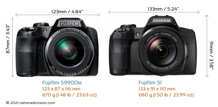 Fujifilm S9900w vs Fujifilm S1 Camera Size Comparison - Front View