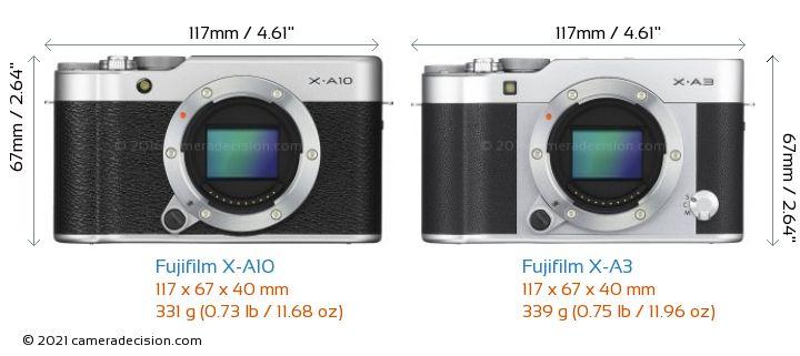 Fujifilm X-A10 vs Fujifilm X-A3 Camera Size Comparison - Front View