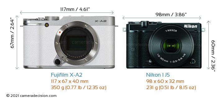 Fujifilm X-A2 vs Nikon 1 J5 Camera Size Comparison - Front View