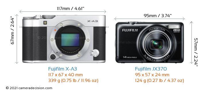 Fujifilm X-A3 vs Fujifilm JX370 Camera Size Comparison - Front View