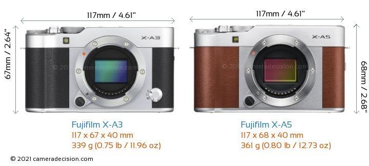Fujifilm X-A3 vs Fujifilm X-A5 Camera Size Comparison - Front View