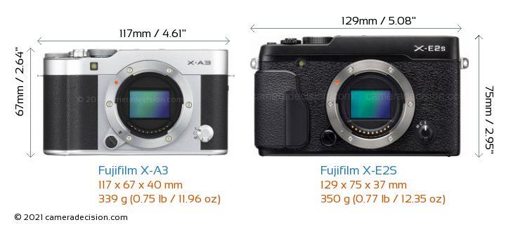Fujifilm X-A3 vs Fujifilm X-E2S Camera Size Comparison - Front View