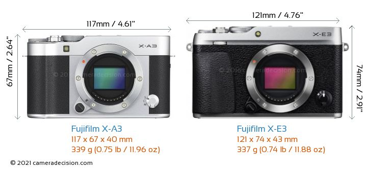 Fujifilm X-A3 vs Fujifilm X-E3 Camera Size Comparison - Front View