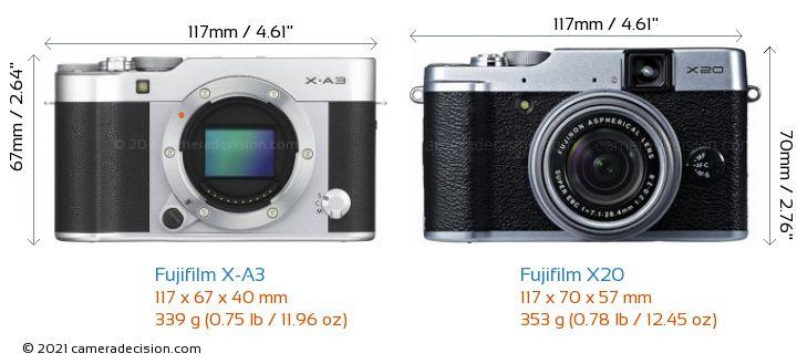Fujifilm X-A3 vs Fujifilm X20 Camera Size Comparison - Front View