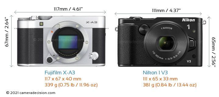 Fujifilm X-A3 vs Nikon 1 V3 Camera Size Comparison - Front View
