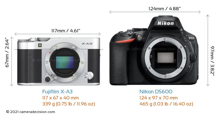 Fujifilm X-A3 vs Nikon D5600 Camera Size Comparison - Front View