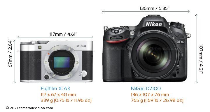 Fujifilm X-A3 vs Nikon D7100 Camera Size Comparison - Front View