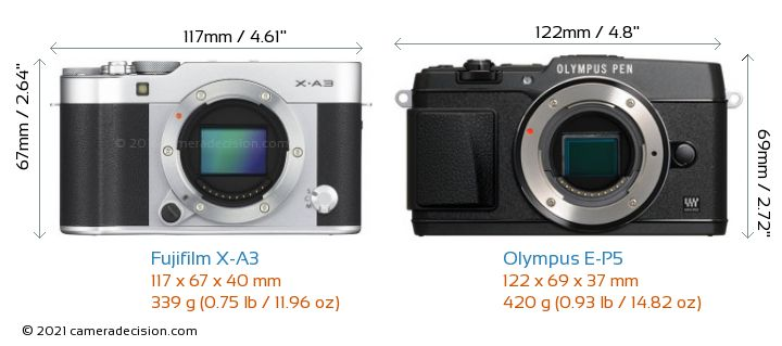Fujifilm X-A3 vs Olympus E-P5 Camera Size Comparison - Front View