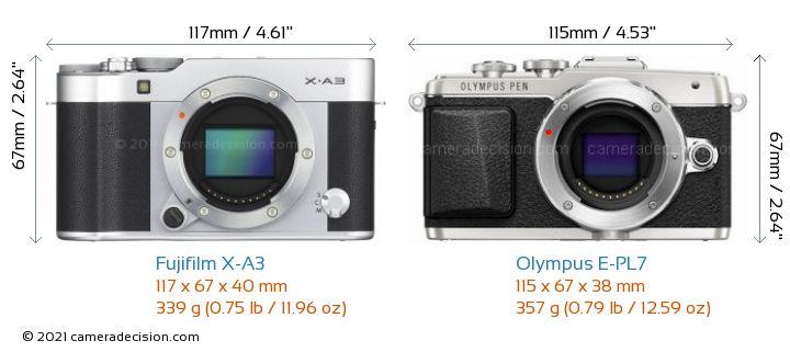 Fujifilm X-A3 vs Olympus E-PL7 Camera Size Comparison - Front View