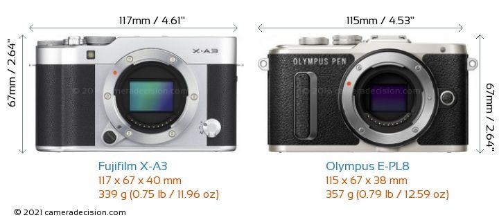 Fujifilm X-A3 vs Olympus E-PL8 Camera Size Comparison - Front View