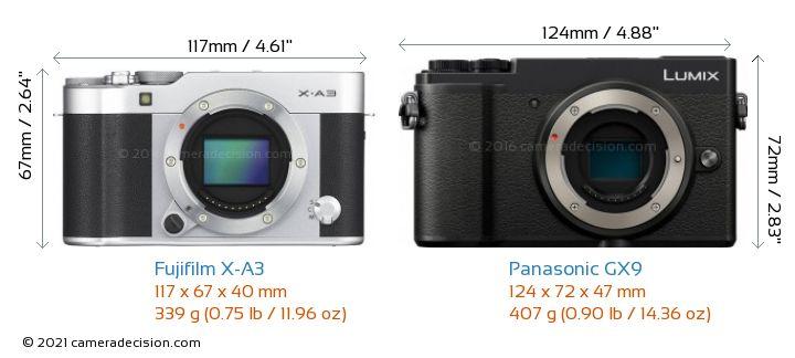 Fujifilm X-A3 vs Panasonic GX9 Camera Size Comparison - Front View