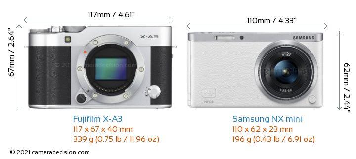 Fujifilm X-A3 vs Samsung NX mini Camera Size Comparison - Front View