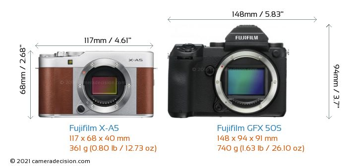 Fujifilm X-A5 vs Fujifilm GFX 50S Camera Size Comparison - Front View