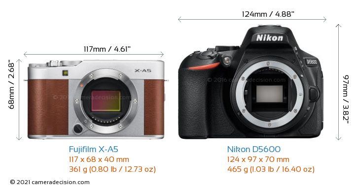 Fujifilm X-A5 vs Nikon D5600 Camera Size Comparison - Front View