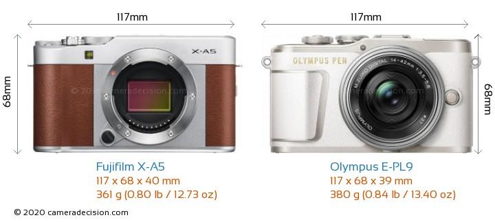 Fujifilm X-A5 vs Olympus E-PL9 Camera Size Comparison - Front View