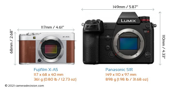 Fujifilm X-A5 vs Panasonic S1R Camera Size Comparison - Front View