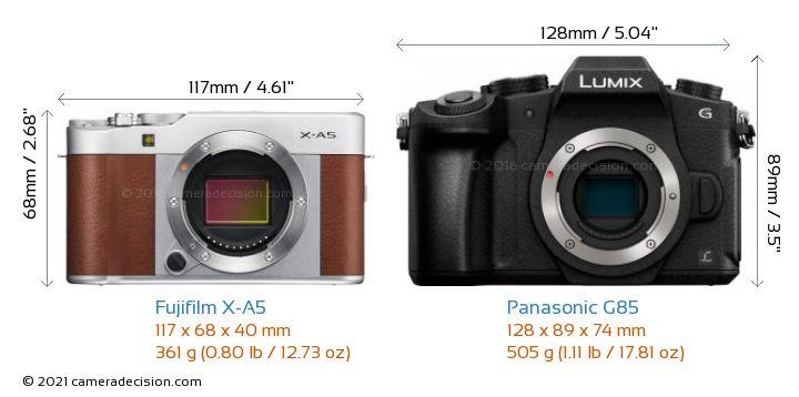 Fujifilm X-A5 vs Panasonic G85 Camera Size Comparison - Front View