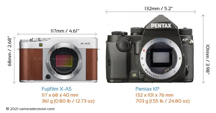 Fujifilm X-A5 vs Pentax KP Camera Size Comparison - Front View