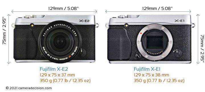Fujifilm X-E2 vs Fujifilm X-E1 Camera Size Comparison - Front View