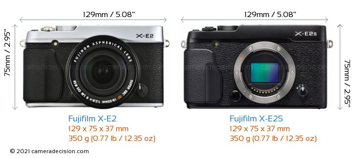 Fujifilm X-E2 vs Fujifilm X-E2S Camera Size Comparison - Front View