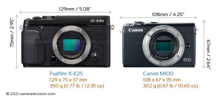 Fujifilm X-E2S vs Canon M100 Camera Size Comparison - Front View