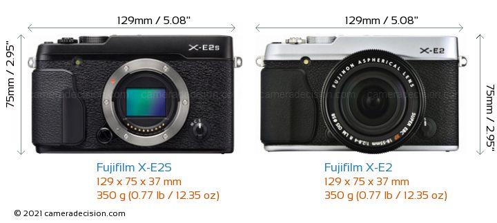 Fujifilm X-E2S vs Fujifilm X-E2 Camera Size Comparison - Front View