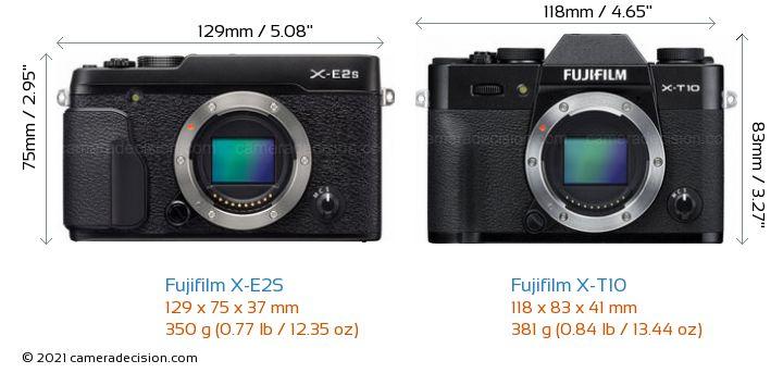 Fujifilm X-E2S vs Fujifilm X-T10 Camera Size Comparison - Front View