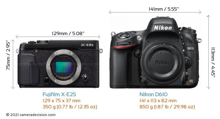 Fujifilm X-E2S vs Nikon D610 Camera Size Comparison - Front View