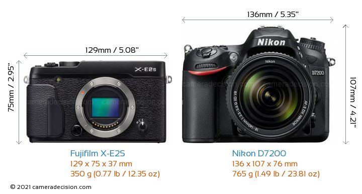 Fujifilm X-E2S vs Nikon D7200 Camera Size Comparison - Front View