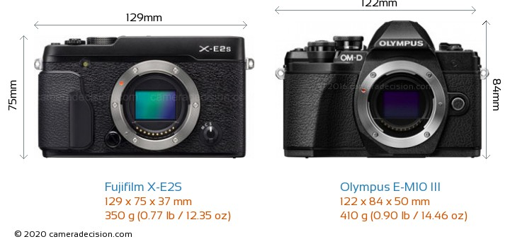 Fujifilm X-E2S vs Olympus E-M10 MIII Camera Size Comparison - Front View