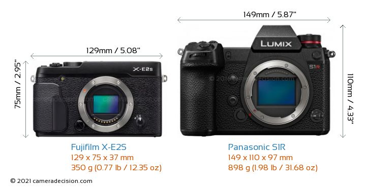 Fujifilm X-E2S vs Panasonic S1R Camera Size Comparison - Front View