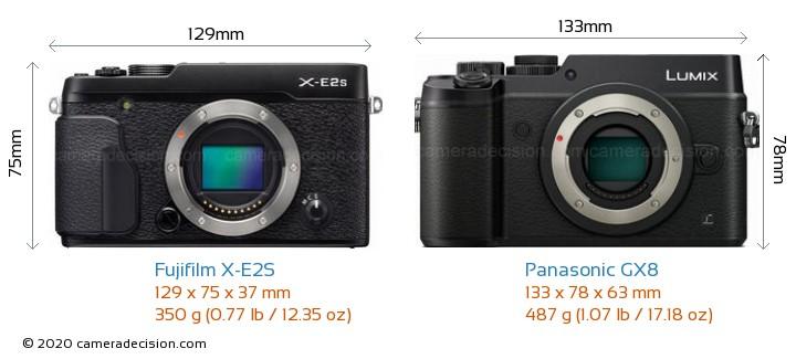 Fujifilm X-E2S vs Panasonic GX8 Camera Size Comparison - Front View
