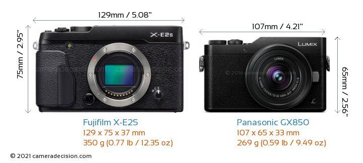 Fujifilm X-E2S vs Panasonic GX850 Camera Size Comparison - Front View