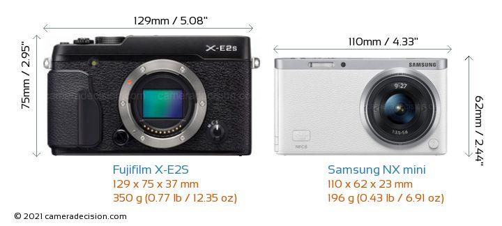 Fujifilm X-E2S vs Samsung NX mini Camera Size Comparison - Front View
