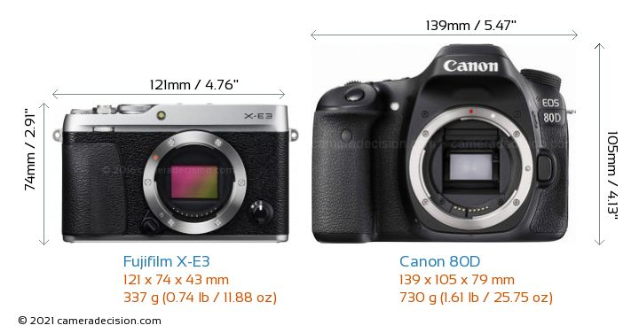 Fujifilm X-E3 vs Canon 80D Camera Size Comparison - Front View