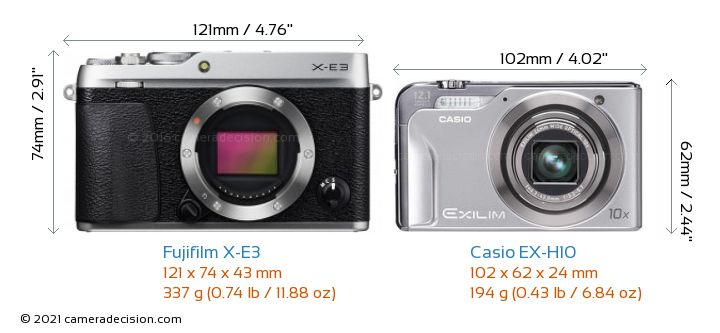 Fujifilm X-E3 vs Casio EX-H10 Camera Size Comparison - Front View