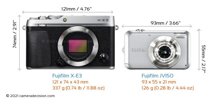 Fujifilm X-E3 vs Fujifilm JV150 Camera Size Comparison - Front View