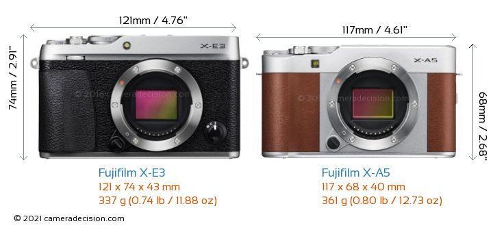 Fujifilm X-E3 vs Fujifilm X-A5 Camera Size Comparison - Front View