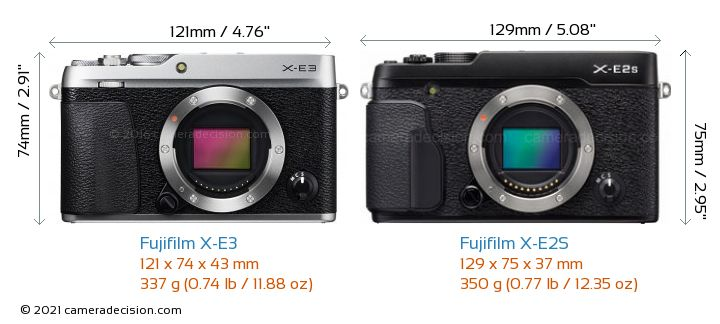Fujifilm X-E3 vs Fujifilm X-E2S Camera Size Comparison - Front View