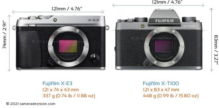 Fujifilm X-E3 vs Fujifilm X-T100 Camera Size Comparison - Front View