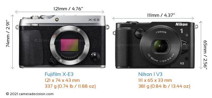Fujifilm X-E3 vs Nikon 1 V3 Camera Size Comparison - Front View