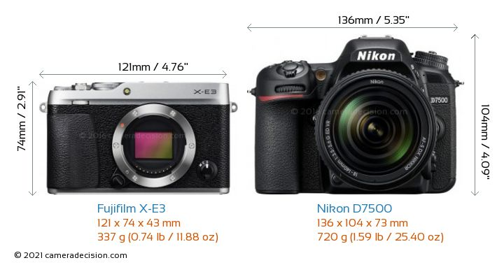 Fujifilm X-E3 vs Nikon D7500 Camera Size Comparison - Front View